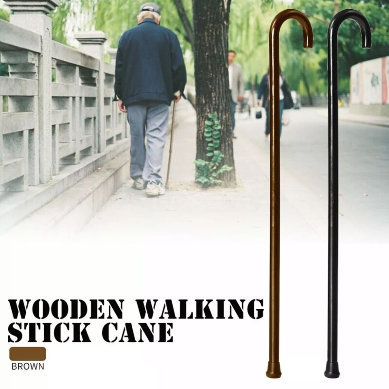 Wood Cane   Wooden Walking Cane With Rubber Tip   Carex Round Crook Handle  