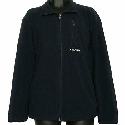 Tommy Hilfiger Fleece Jacket - Mens Large - Solid Navy Blue Full Zip Long Sleeve