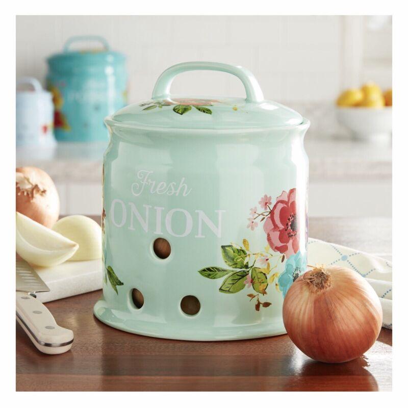 Pioneer Woman Floral Onion Stonewear Keeper NEW