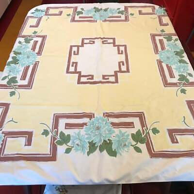 Vintage 1940s Floral Tablecloth 1950s kitchen Yellow Brown Aqua Green 42x50