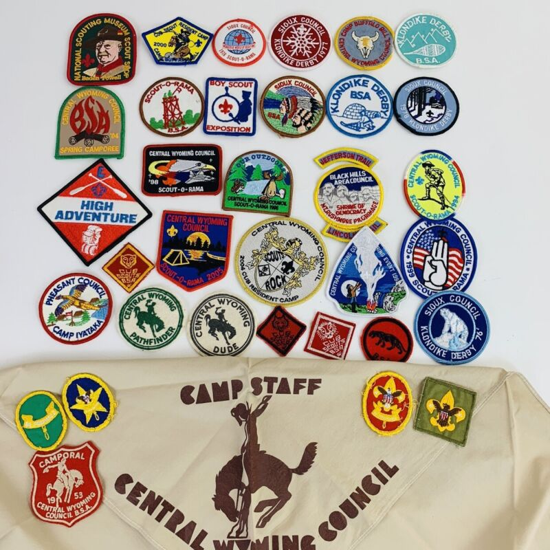Vintage Lot Of 39 Boy Scout Patches Many Wyoming  Some Felt Kerchief