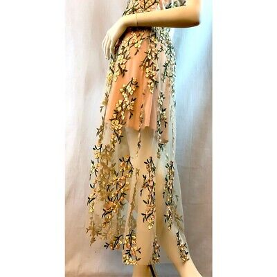 dilek hanif for Koton Nude Tulle Floral Detailed Flare Dress L