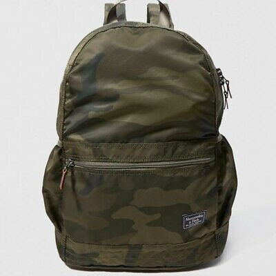 NWT Abercrombie & Fitch Mens Green Camouflage Nylon Packable Travel Backpack