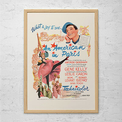 Vintage Movie Poster   An American In Paris Movie Ad   1950S Retro Ad Kitsch Po