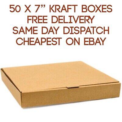 50 Plain Brown Pizza Storage Takeaway Strong Quality Postal Boxes, 7