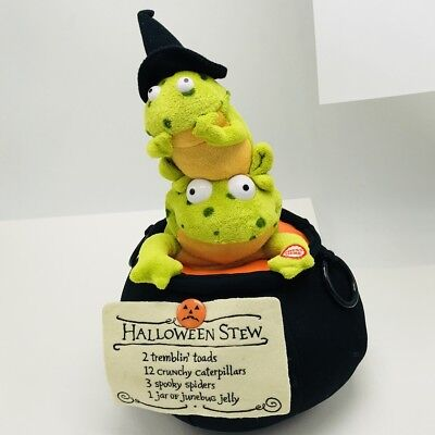 Hallmark TREMBLIN TOADS Animated Singing Shaking Halloween Stew Frogs Plush   - Halloween Witches Stew