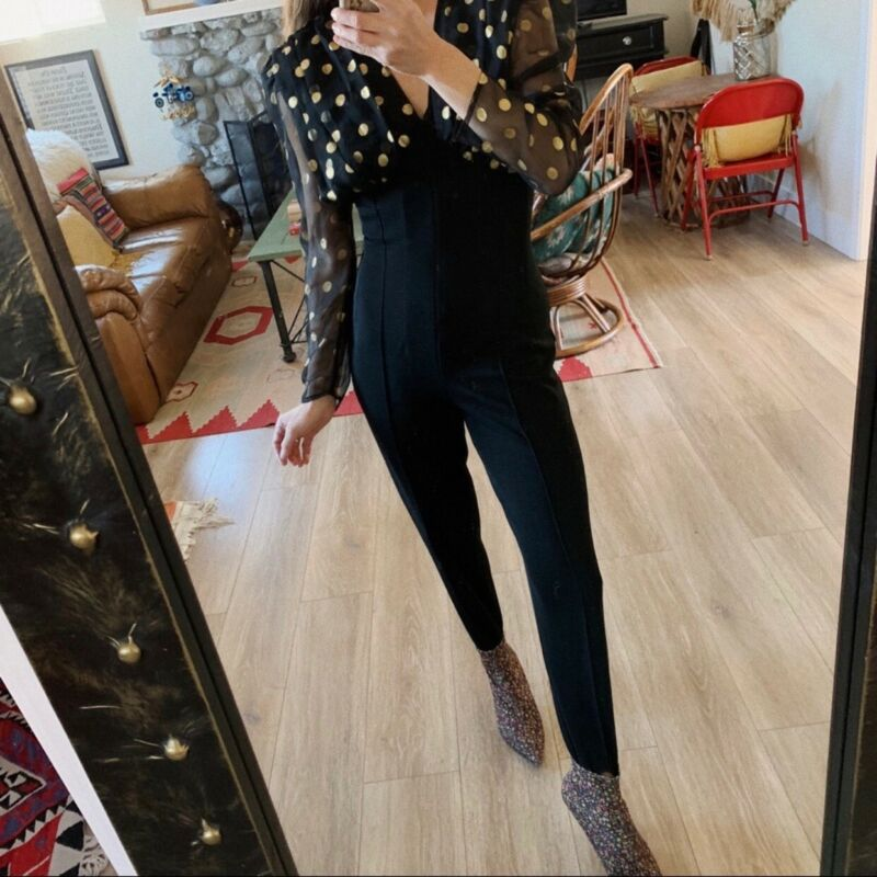 Vintage 80s Polka Dot Silk Ribbed Stirrup Jumpsuit XS/S Puff Sleeve Glam Retro