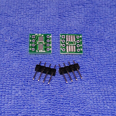 10pcs Msop8 Sop8 Soic8 To Dip8 Adapter Converter Pcb Board Single Row Pin New