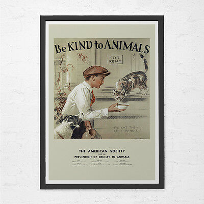 VINTAGE CAT POSTER - Animal Lovers Gift - Animal Rescue Poster, Vet's Wall Art,  Animal Art Vintage Animal