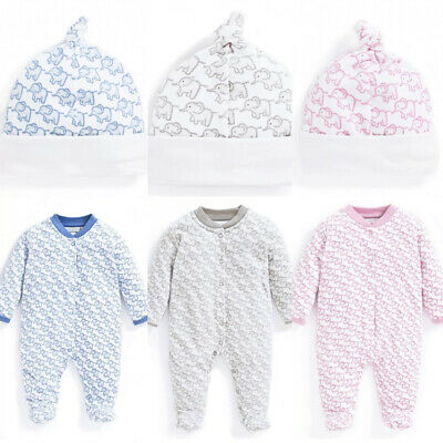 ex Chainstore Brand Girls Boys Baby Unisex Elephant Sleepsuit Hat Set 0-6 Months