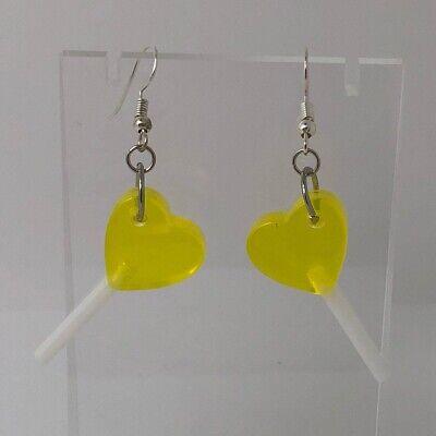 Large Yellow Heart Lollipop Pendant Earrings Resin Kitch Silver I700 Kawaii