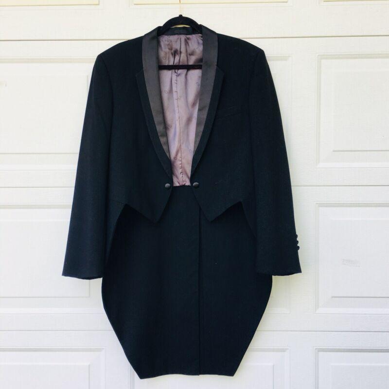 "Dior Mens 40 R Black Satin Lapel Tuxedo Tux Tails Formal Jacket ""DIOR"" Lining"