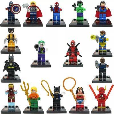 16pcs Uk Marvel DC Super Hero Avengers mini figure Minifigure made fits Lego