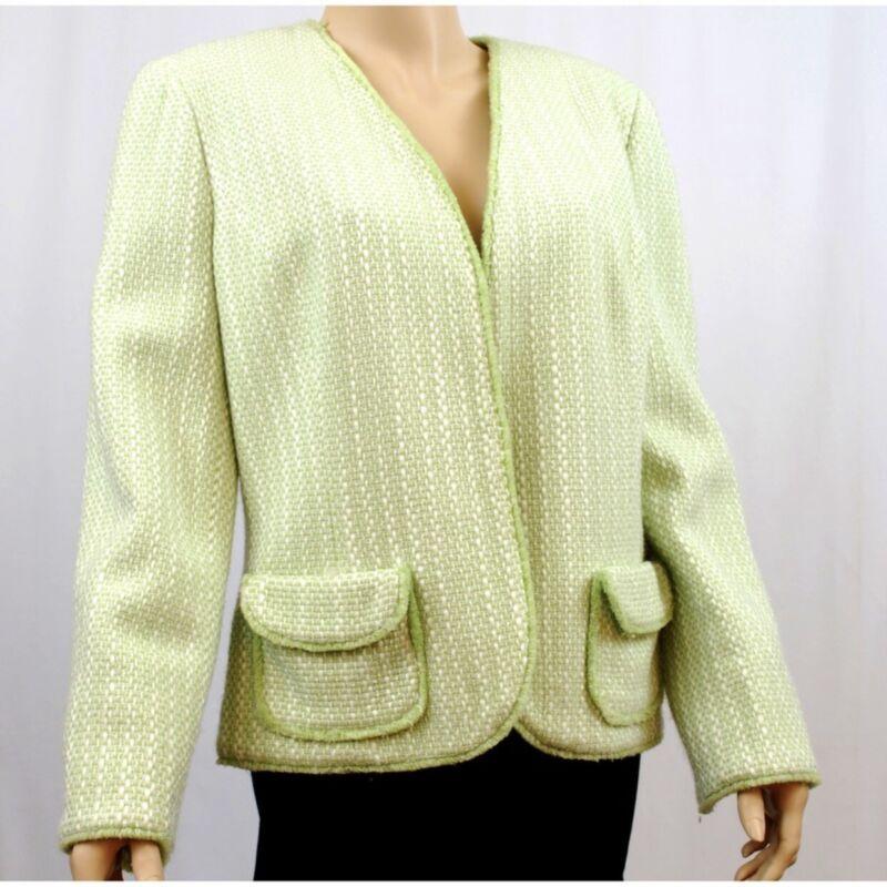 Kasper Suit Blazer Mint White Green Tweed Women's Ladies Size 14