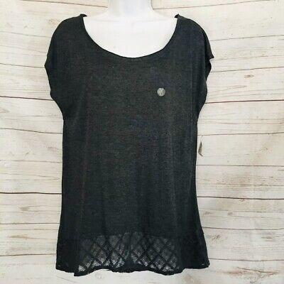 AEROPOSTALE Womens Lace Hem Chic Top Preppy Tee Scoop Neck Summer Shirt Size XL (Chic Womens Cap Sleeve T-shirt)