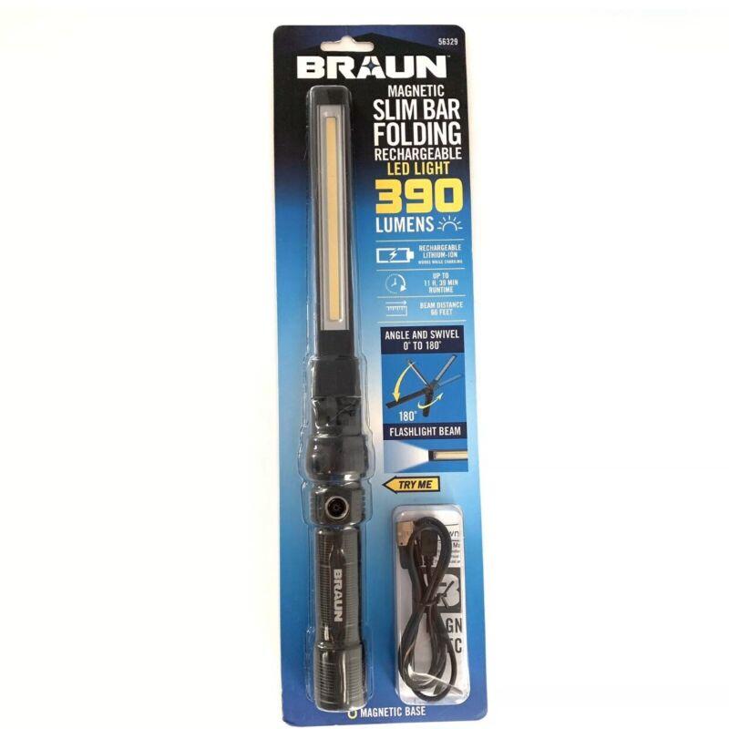 NEW! Braun 390 Lumen Magnetic Slim Bar Folding Rechargeable LED Work Light