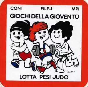 ADESIVO-STICKER-GIOCHI-DELLA-GIOVENTU-039-LOTTA-PESI-JUDO-CONI-FILPJ-MPI