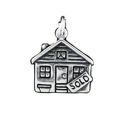 Real Estate House Charm Sterling Silver Pendant Sold Sign Agent