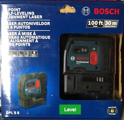NEW BOSCH 100 ft 5 Pt Self Leveling Plumb & Square Laser GPL 5S Not Reconditoned
