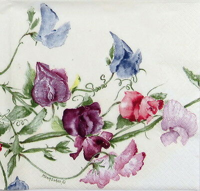 4x Paper Napkins -Vintage Flower Sweatpea- for Party, Decoupage Craft
