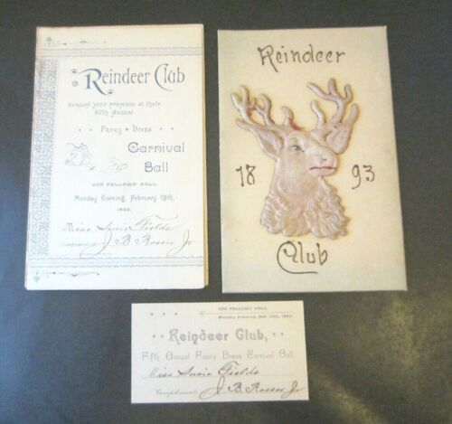 Lot Reindeer Club 1893 Mardi Gras Ball Card- Invitation & Admit Card New Orleans