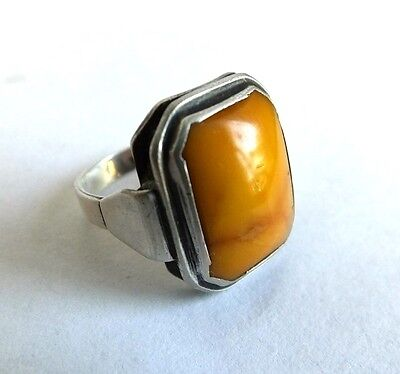 Ring Silber 835 Bernstein butterscotchfarben Art Déco Gr 56/57