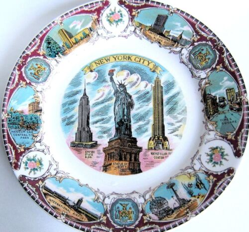 """New York City Plate, 8"""" diameter, N.Y. highlights, Cord for optional hanging."""