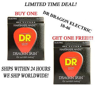 **DR DRAGON SKIN LIGHT ELECTRIC GUITAR STRINGS (10-46) -- COATED STRINGS** Dragon Skin Coated Light