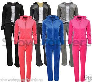 NEW-Womens-TRACKSUIT-VELOUR-Hoodie-POCKET-Ladies-SUIT-Black-Size-8-10-12-14-16