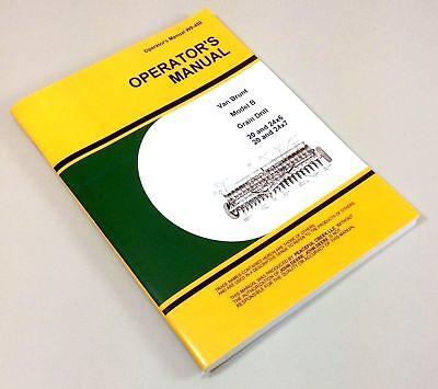Operators Manual For John Deere Van Brunt B Grain Drill Owners Rates Planter