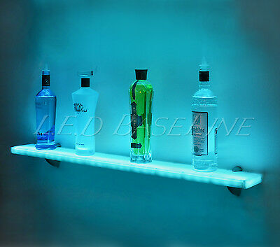44 Led Lighted Wall Mounted Floating Shelf- Liquor Bottle - Glass - Bar Display