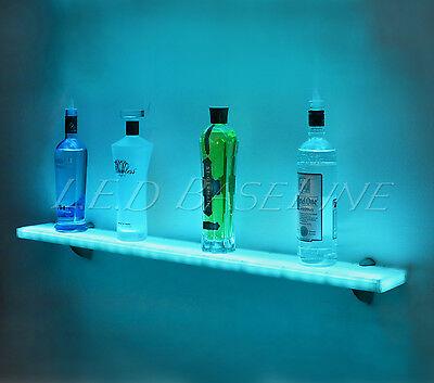 "44"" LED Lighted Wall Mounted Floating Shelf- Liquor Bottle - Glass - Bar Display"