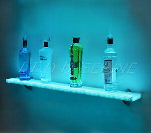 44 led lighted wall mounted floating shelf liquor bottle glass bar display. Black Bedroom Furniture Sets. Home Design Ideas
