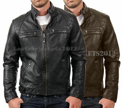 Mens Black Biker Leather Jacket Genuine Sheep Skin Leather Style St82