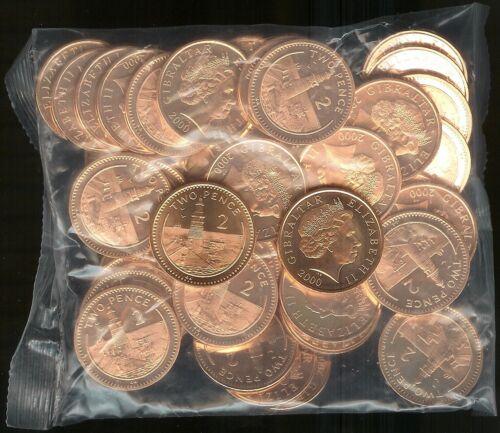 GIBRALTAR BRITISH COLONY 2 PENCE 2000AA BU BAG 50 COINS LIGHTHOUSE ON EUROPA POI