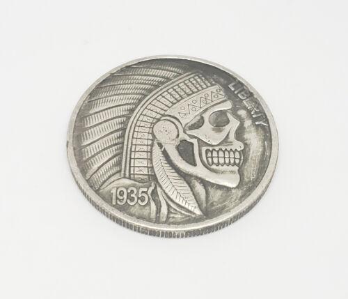 1935 Morgan Dollar Hobo Nickel Coin Native Indian Warrior etched