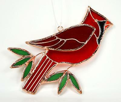 Cardinal and Leaves Stained Glass Suncatcher
