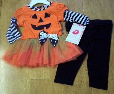 NWT SWEETHEART ROSE 2 pc HALLOWEEN Tulle Ribbon TUTU Dress & Leggings Set 6-9 MO