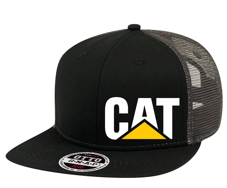 CAT Trucker Hat Mesh Caterpillar Construction Flat bill Snap