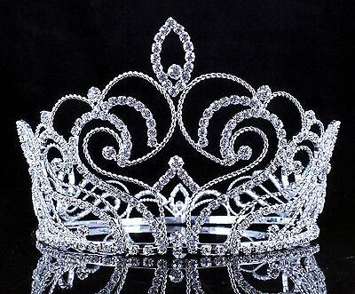Goddess Clear Austrian Crystal Rhinestone Tiara Full Crown Pageant Silver C802