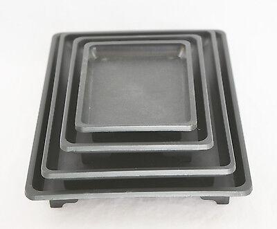 (4 Mix Rectangular Black Plastic Humidity Tray for Bonsai Pot 5.25