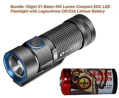 1 X Cr123a Flashlight - Olight S1 Baton LED Flashlight 500 Lumen Magnet Tailcap with 1x CR123A Battery