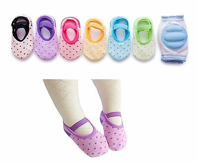 6 Pairs Anti Slip Foot Socks & 1 Pair Knee Elbow Pad Crawling Baby Socks Shoes