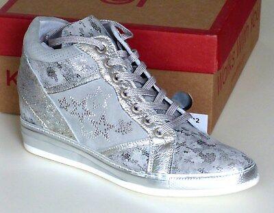 Khrio Vegas Perla Silver High Top Wedge Ladies Leather Shoes # UK Size 3 - EU 36