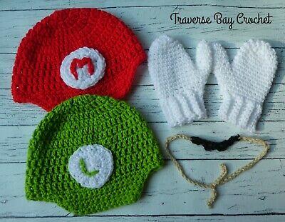 Crochet Mario and Luigi hat mustache mitten costume child PATTERN ONLY - Luigi Hat And Mustache