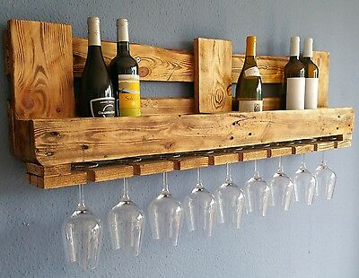 WEINREGAL EURO-PALETTENMÖBEL Vintage WANDREGAL Holz Bar Rustikal Geflammt Shabby (Rustikale Regale Wand)