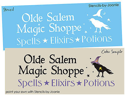 Halloween Stencil Olde Salem Magic Shop Spells Potions Elixirs Crow Witch Hat