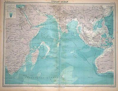 1920 LARGE MAP ~ INDIAN OCEAN ~ 23