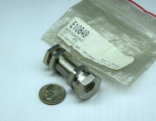 "IFM E10849 NOS 8MM SENSOR MOUNT W/ STOPS BRASS NICKEL 1.645 OA LONG .668"" HEX"