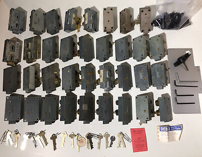 Diebold Mosler Safe Deposit Box Locks Right Left Hand Lot Of 35 Many With Keys